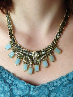 Green and Gold Herringbone Collar w/ Sea Green Glass Tablets; Seed Bead Jewelry; Statement Necklace