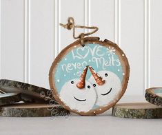 Items similar to Gift for Coworker Large Snowman Ornament Wood Snowman Art Christmas Tree Ornament Xmas Gift Exchange Love Never Melts Wedding Gift Couple on Etsy Wood Ornaments, Snowman Ornaments, Diy Christmas Ornaments, Christmas Crafts, Snowmen, Christmas Trees, Christmas Gifts For Couples, Christmas Couple, Christmas Night