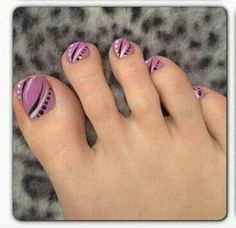 Love this pale plum color and the whimsical design! Toe Designs, Pedicure Designs, Diy Nail Designs, Nail Polish Designs, Cute Toe Nails, Fancy Nails, Toe Nail Art, Pretty Nails, Feet Nail Design