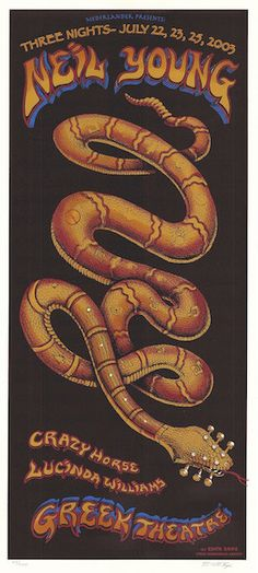 2003 Neil Young - Los Angeles Silkscreen Concert Poster by Emek