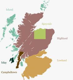 Whiskies of Sctland: Map of 7 Regions of Whisky producers and list of Distilleries by region