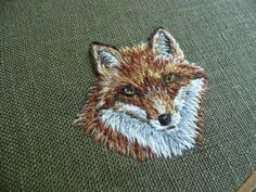 キツネの顔をししゅう a little Fox embroidery ,needle-painting 4cm