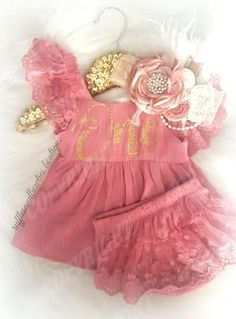 e37abe3e46e Baby Girls Isabella First Birthday ONE Lace Swing Birthday Dress in Dusty  Rose  amp  Gold