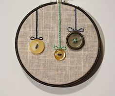 button ornament - embroidery hoop art (even I could embroider that!)