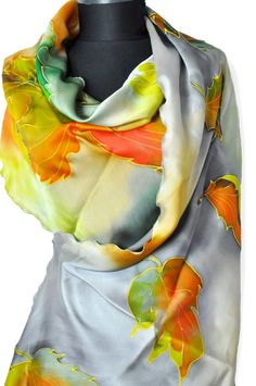 Gray and orange silk scarf. Luxury silk satin scarf. Autumn scarf. Hand painted silk scarf. Exotic floral scarf. Woman luxury accessory. Gift for you, your wife, sister and mother. Orange and green leaves. This scarf is a wonderful accessory to your outfit. It gives a very fresh and elegant