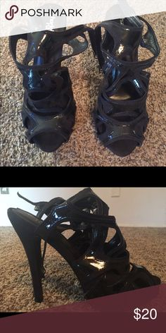 Black strappy heels Black strappy heels worn only a few times in great condition Charlotte Russe Shoes Heels