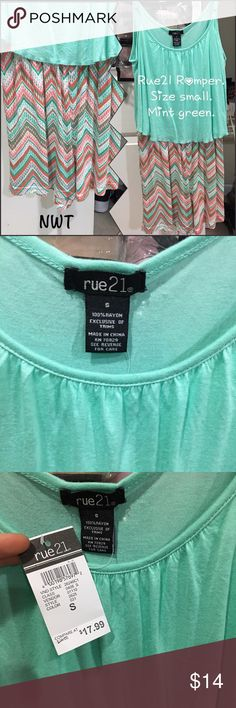 Romper! Rue21. Size small. NWT! NWT. Rue21 Romper. Top color is mint green. Adjustable straps! Rue21 Pants Jumpsuits & Rompers