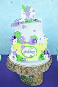 Tinker Bell Fairy Themed 7th Birthday Party-the cake
