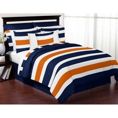 Features:  -Color: Navy Blue/Orange.  -Fabric: Brushed microfiber.  -Washing instructions: Machine wash cold, gentle cycle and tumble dry low.  -King/full/queen set includes comforter and 2 pillow sha