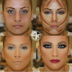 15 contour examples that demonstrate the power of make-up Beauty Make-up, Beauty Hacks, Hair Beauty, Contour Makeup, Eye Makeup, Face Contouring, Glam Makeup, Makeup Geek, Before And After Contouring