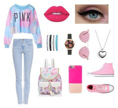 """PINK"" by jay-katt98xx on Polyvore featuring Current/Elliott, Under Armour, Forever New, Lime Crime, Olivia Burton, Oliver Peoples, Pandora, Converse and BaubleBar"