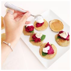 'Blinis' topped with our spicy walnut and beetroot dip and goats cheese (or cashew cheese)