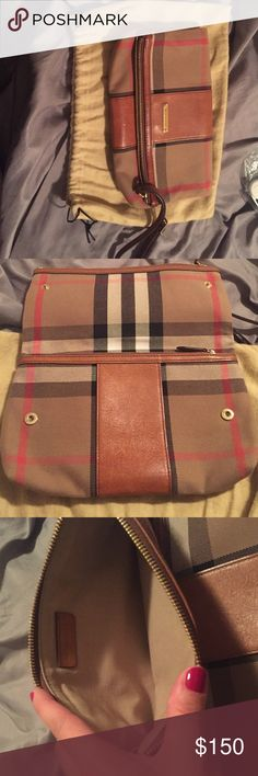 Burberry original checkered wristlet Original Burberry print worst let ; with zip two compartments and a button to snap closed Burberry Bags Clutches & Wristlets