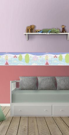 Borders are a quick and easy way to add something fun to a kids room walls - this Princess themed border complete with a chariot and castle in the background is perfect for a little girls bedroom. Girl Room, Girls Bedroom, Kids Wallpaper, Little Boys, Boy Or Girl, Kids Fashion, Neutral, Castle, Walls