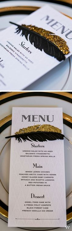 A part of the perfect polished tablesetting, our Black and Gold Opulence Menu is superb for a black tie wedding. Customize your own here: http://www.weddingstar.com/product/black-and-gold-opulence-menu-card