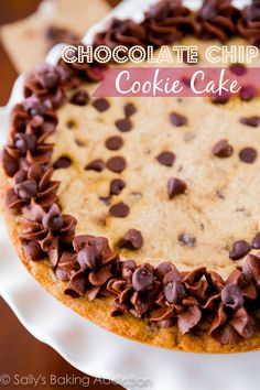 Soft, thick, and ultra chewy Chocolate Chip Cookie Cake! by @sallybakeblog