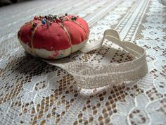 Vintage Pincushion  Wrist Pin Cushion  Red and by EntirelyApropos