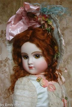 My finest C-Series Steiner with Hazel Hand Glass eyes, auburn mohair wig. 22 inch doll with exquisite costume