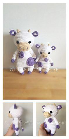 Amigurumi Doll Pattern, Crochet Amigurumi Free Patterns, Crochet Animal Patterns, Stuffed Animal Patterns, Crochet Blanket Patterns, Crochet Animals, Softie Pattern, Amigurumi Toys, Crochet Cow