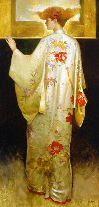 Could be DG Rossetti, with a medieval gown instead    Original note: Silk Kimono  - Felix Mas