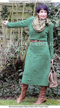 Связанное крючком платье с ромбами из «шишечек» 46-48 размера.