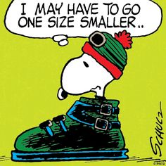 Snoopy goes skiing.