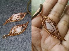 Wire pendant with stone no holes - How to make wire jewelery 248