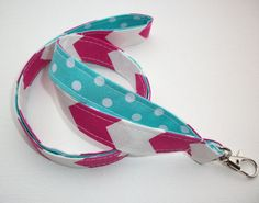 Lanyard  ID Badge Holder - Lobster clasp and key ring - design your own hot pink chevron white dots on aqua two toned double sided