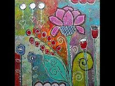 """Doodling and Painting on Canvas - Tutorial -- """"Love Grows"""" - mixed media - YouTube"""