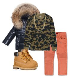 """""""Saturday"""" by uneshaaa ❤ liked on Polyvore featuring Haus of JR, Moncler, A BATHING APE, Timberland and Fremada"""