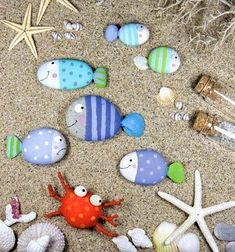 Paint fish beach rocks for the garden or beach party