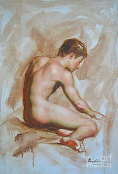 Hongtao     Huang - original oil painting gay man body art male nude -010