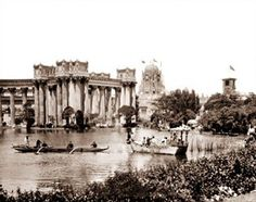 View of the lake surrounding the Palace of Fine Arts, one of the premier buildings of the Pan Pacific International Exhibition. The 1915 fair was held to show the world that San Francisco was now rebuilt after the destruction of the 1906 earthquake.