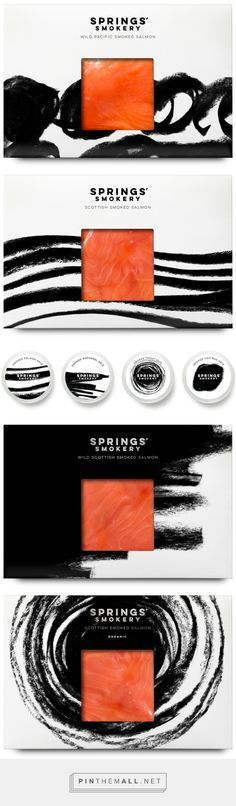 Elegant! Package Design for Springs' Smokery by Distil Studio via BP&O curated by Packaging Diva PD. The way the salmon pops on this packaging is stellar.