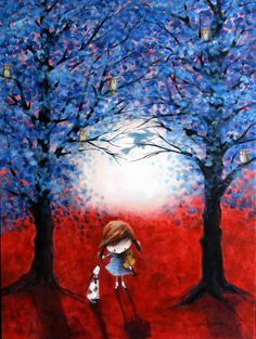 """Saatchi Art Artist Iwona Lifsches; Painting, """"Ulla and Bingo in The Blue Forest SOLD"""" #art"""