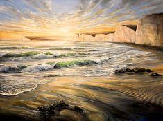 Eril Nisbett - Seven Sisters from Birling Gap - Oil on canvas, x Landscape Art, Landscape Paintings, Original Art, Original Paintings, Painter Artist, Oil Painters, Australian Artists, Ocean Waves, Ocean Beach