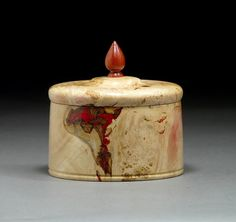 Boxelder Burl keepsake box, red inlay, Bloodwood pull. By New England woodturner Ray Asselin. At Bowlwood.com.