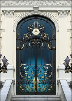 The front door may be an ideal means to reveal the attractiveness of a house. As such it's necessary to have an ideal door design that appeals to guests. Although a traditional front door will serv… Grand Entrance, Entrance Doors, Doorway, House Entrance, Knobs And Knockers, Door Knobs, The Doors, Windows And Doors, Gates