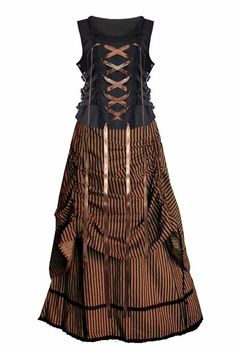 Victorian Valentine Steampunk Gothic Civil War Striped Women's Top & Skirt (M)