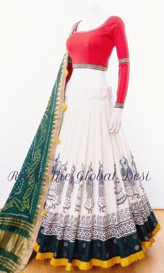 chaniya choli for garba Silk Chania with designer brocade blouse and contrast dupatta Indian Gowns Dresses, Indian Fashion Dresses, Dress Indian Style, Indian Designer Outfits, Pakistani Dresses, Designer Dresses, Choli Blouse Design, Choli Designs, Lehenga Designs