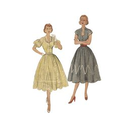 1950s Party Dress with Full Skirt Simplicity 3541 by Redcurlzs,