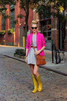 rain hunter pink stripes dress j.crew coach willis zara rainy day