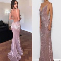 Sexy Open Back Mermaid Rose Gold Sequin Cheap Long Prom Dresses, WG1033