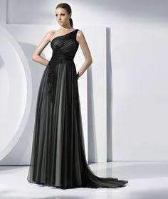 3ef13075b10a84 Black Applique Organza Designer Evening Dresses