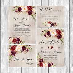 Gorgeous wedding invitation suite - rustic wood background with floral elements and matching items. This digital printable set includes: ----------------------------------------- Wedding Invitation, RSVP Card, Save the date and Thank you cards, will be EMAILED to you as high-res, print ready