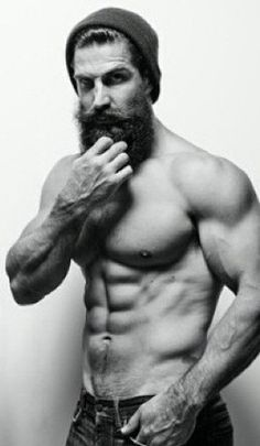 Note: He doesn't even have tattoos. It's just a beard. And it's still working. Sweet Jesus, thank you. #beards #muscles