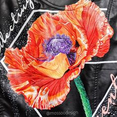 Hyper realistic hand painted poppy jacket by MOSSOO . Inspiration from Denise Ramsay Painted Leather Jacket, Painting Leather, Leather Jackets, Poppy, Hand Painted, Hands, Floral, Inspiration, Jackets