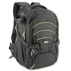 Evecase-Large-DSLR-CameraLaptop-Travel-Backpack-Gadget-Bag-w-Rain-Cover-for-Nikon-Sony-Canon-SLR-Series-Digital-Cameras-BlackGreen
