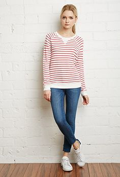 Striped French Terry Sweater | Forever 21 - 2000099027