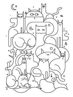 Line Drawing Of Cats By Jonathan Calugi Inspiration